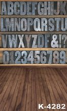 New Arrival 5X7ft Backdrops ! Wood Flooring Stand Photography Background Child Retro Wall 26 Letters And 10 Digits Photo Studio