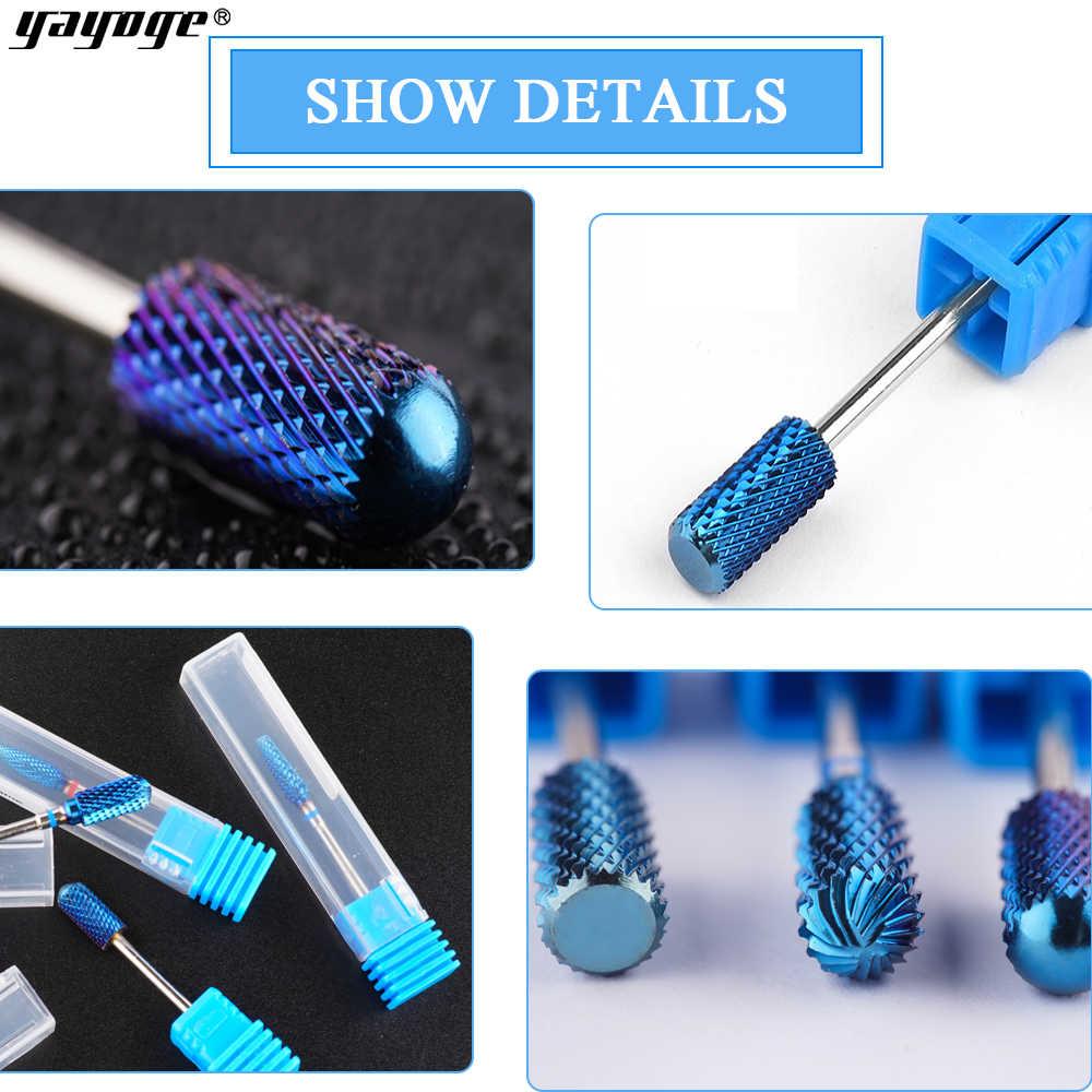 Yayoge brocas de cerámica azul para uñas, fresas giratorias, brocas para manicura y pedicura, accesorios eléctricos para taladro de uñas