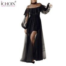 2018 Sexy Mesh Long Dress Women Spring Ruffle Black Bodycon Lace Maxi Dress  See through Elegant 722cfba231a3