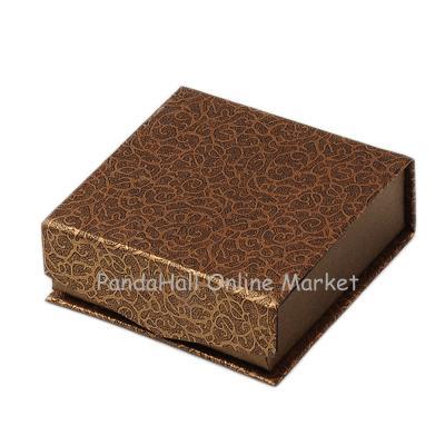 Cardboard Bracelet Boxes, with Velvet and Magnet, Cube, Camel, 93x93x33mm