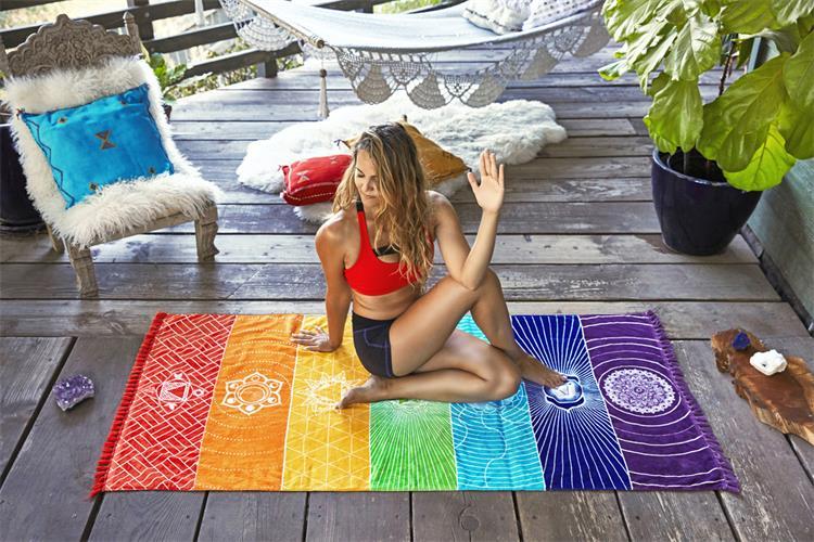índia mandala cobertor 7 chakra arco-íris listras