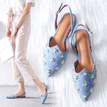 где купить 2019 New Fashion Women Sandals Flock Low Heels Sandals Blue/Black Spring/Summer Female Shoes Casual Lady Shoes Woman Footwear дешево