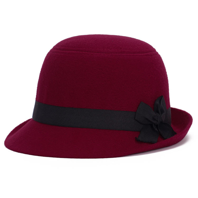 df6d170d0ff9d HT1215 Brand Imitate Wool Felt Hats for Women Solid Black Red Winter Hats  Short Brim Fedora Hat with Ribbon Bow Warm Bucket Hat