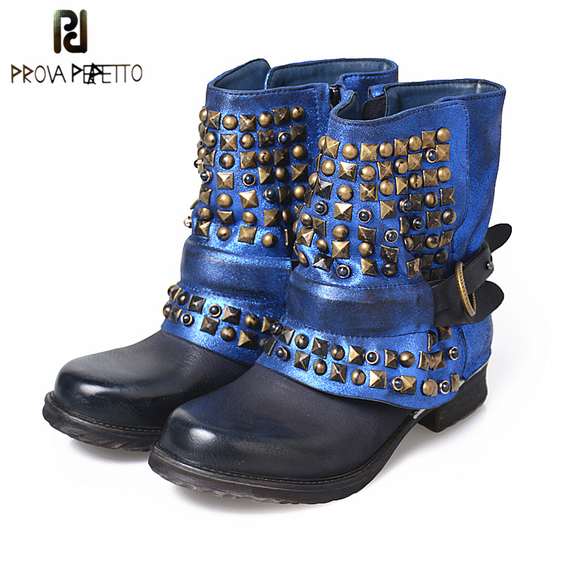 Prova Perfetto Fashion Personality Rivet Studded Belt Buckle Women's Short Boots Square Toe Thick Heel Retro Motorcycle Boots prova perfetto genuine leather mixed metal decoration mid calf boots square toe thick heel buckle belt retro matrin boots women
