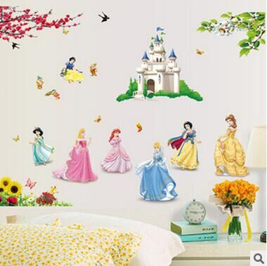 1 set 33*43 Inch Princesses Wall <font><b>Stickers</b></font> For Kids Room Snow White Decals Art Wall Hone Decoration Child Wallpaper DF5102