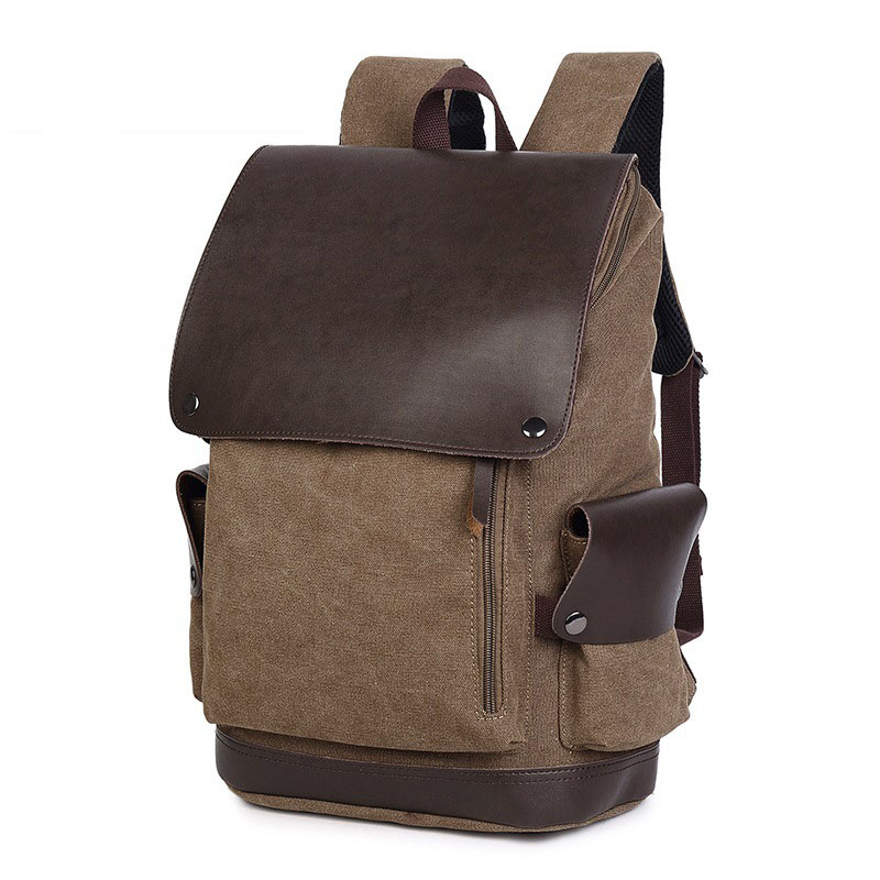 Mens wearable canvas with leather large-capacity backpack Solid color retro burden backpack with cover waterproof laptop bagMens wearable canvas with leather large-capacity backpack Solid color retro burden backpack with cover waterproof laptop bag