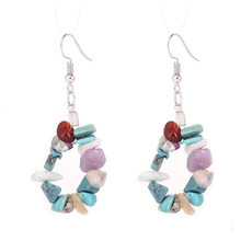 Hot Bohemian Style Handmade Natural Gravel Earrings DIY Natural Stone Tassel Earrings Jewerly Natural Sardonyx Calaite Fluorite(China)
