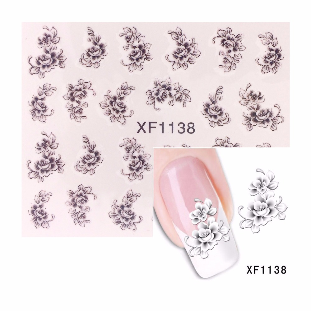 LCJ Hot Designs Water Decals Mixed Flower Nail Stickers French Tips ...