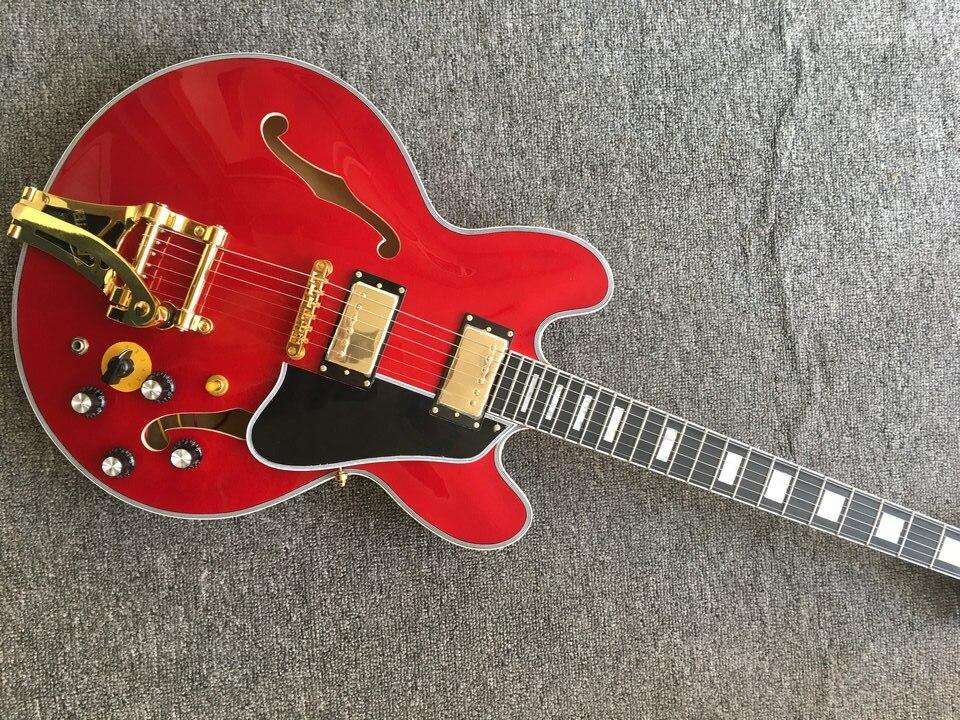 Высококачественная джазовая гитара, тупая красная электрическая гитара, золотистые металлические части, Черная защитная пластина, 6 струн