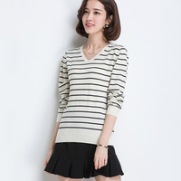 Women Sweater Pullovers V Neck Soft Cashmere Elastic Striped Sweaters And Pullovers Women Autumn Female Jumper