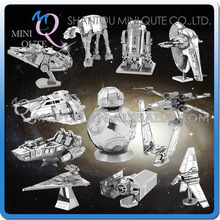 Mini Qute Piece Fun 3D Star wars Xwing ATAT Millennium Falcon BB8 Vader Tie Fighter Metal Puzzle adult models educational toy