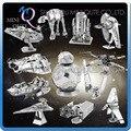 Mini Qute Pieza de la Diversión 3D Star wars ATAT Xwing Milenio Falcon BB8 Vader Tie Fighter Metal Rompecabezas adultos modelos educativos juguete