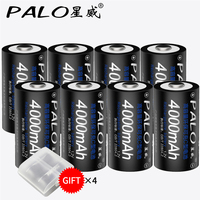 PALO 8 Pcs Battery C Size Batteries 1.2V Ni MH 4000mAh Rechargeable Batteries Original Bateria Baterias with tab free shipping