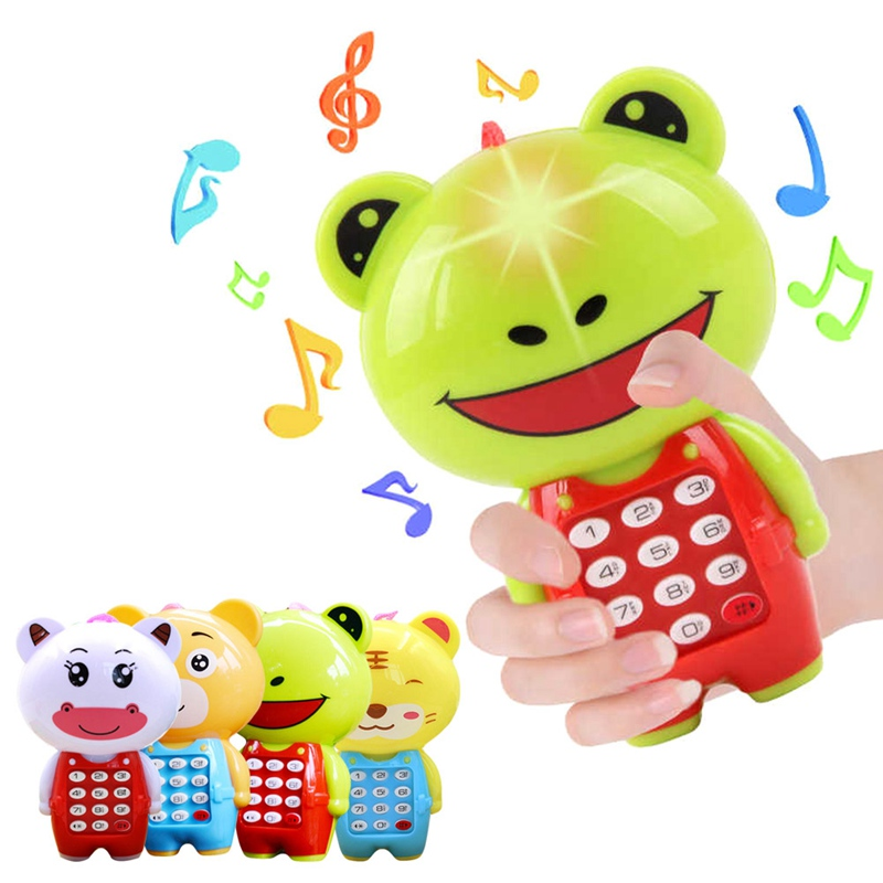 Baby Electronic Phone Toy Children Cartoon Digital Sounding Flashing Musical Mobile Phone Baby Educational Learning Toys