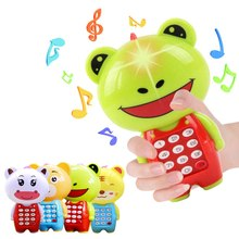 Baby Electronic Phone Toy Children Cartoon Digital Sounding Flashing Musical Mobile Phone Baby Educational Learning Toys(China)