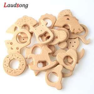 2Pcs Baby Animal Natural Beech Teething Wooden Beads Toy Baby Teether Gift Rattle Diy Accessories Wood Crafts