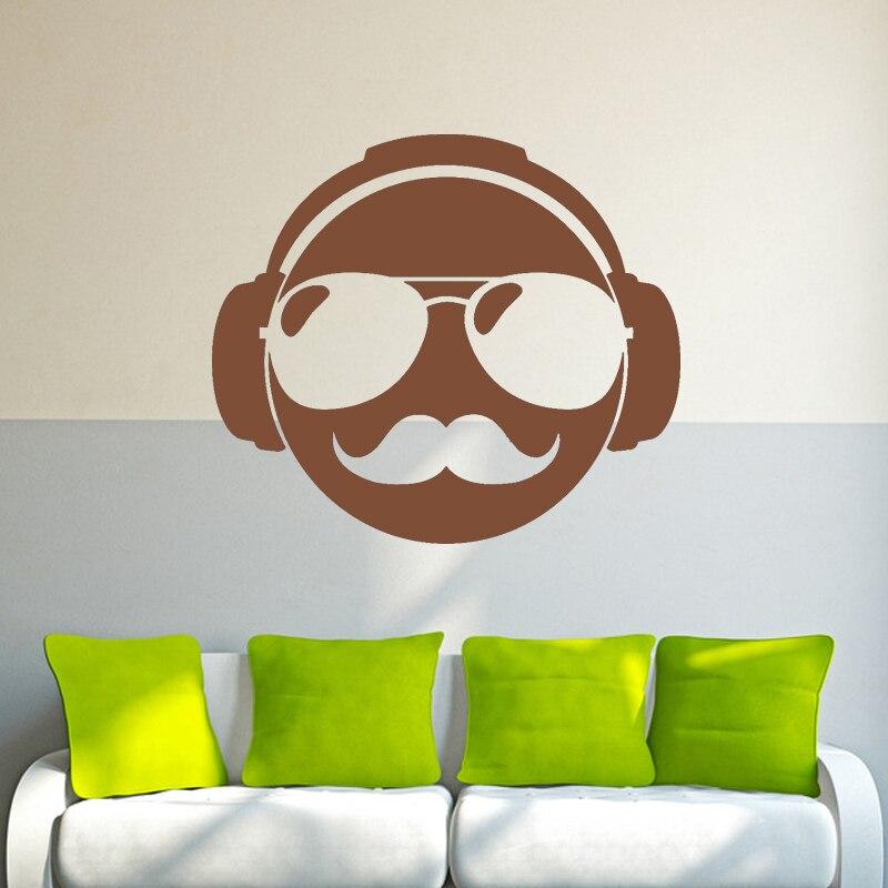Wall Sticker Vinyl Decal Mustache Glasses Pilots Dj Headphones Decal Mural Diamond Level Artisitc Decorations