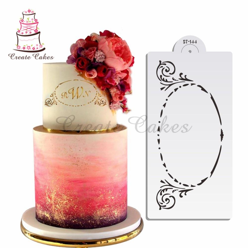 ᐂLarge monograma oval cake plantilla para pastel y pastel ...