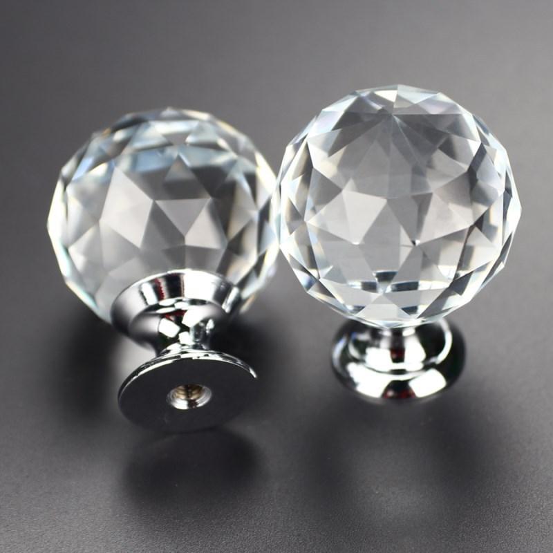 12 Stks Dia 30mm Diamond Crystal Lade Knoppen Kast Deurgrepen Keuken Meubels Wijn Kabinet Pulls Garderobe Decoratie