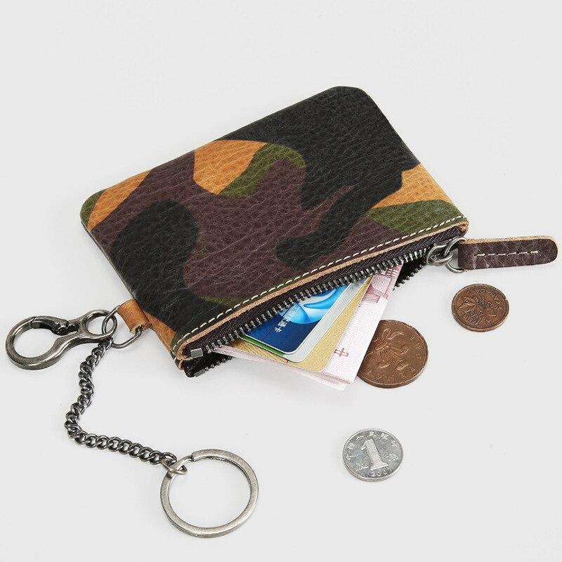 Military Tactical Real Leather Wallet Men Camouflage Mini Wristlet Coin Purse Men Genuine Leather Zipper Wallet Male leather look mini skirt with zipper details