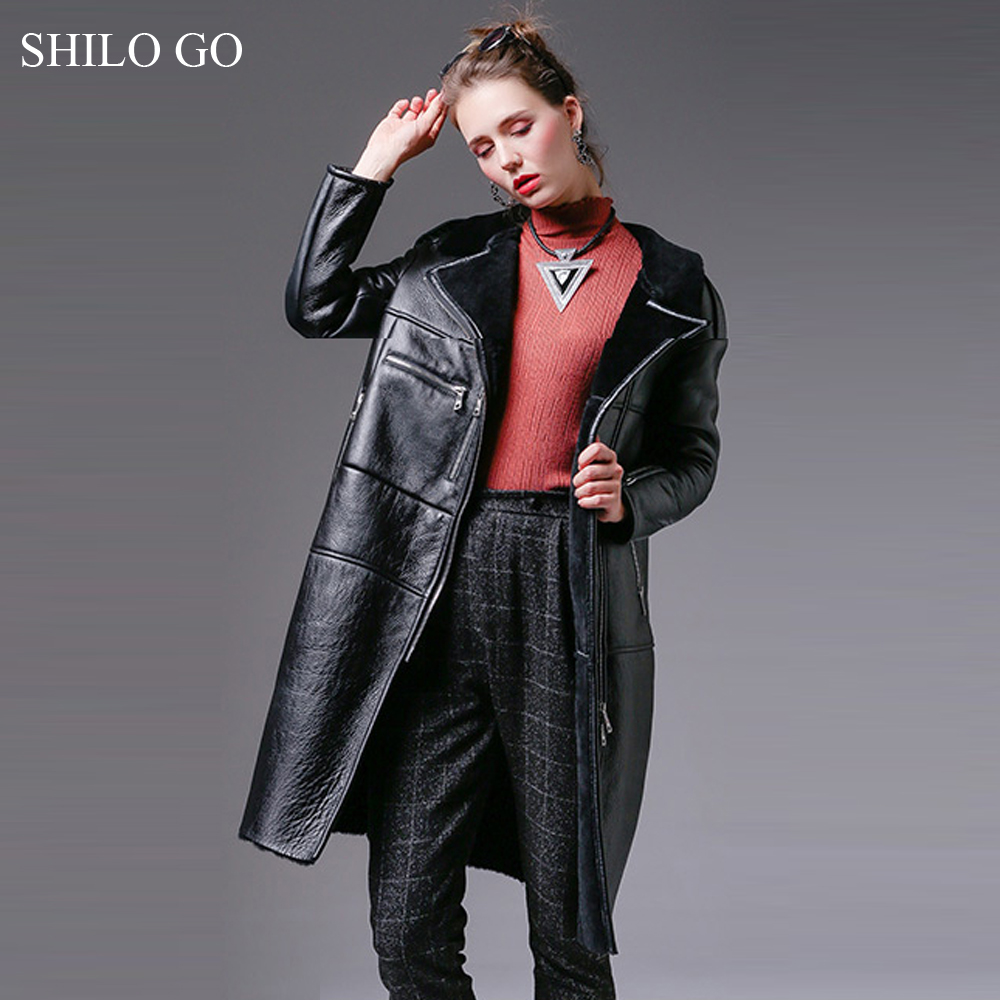 SHILO GO Fur coat Womens Winter Fashion Merino sheep fur long coat laple loose concise zipper black thick warm locomotive coat