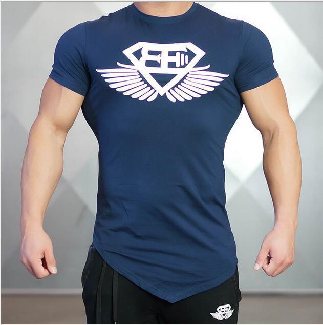 2016 новая мода лето футболка мужчины подшивание двойной о-образным вырезом хлопок комфортно человек футболку фитнес футболка homme мужская одежда