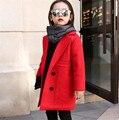 Новый 2016 осень зима цвета конфеты turn down воротник девушки шерстяные пальто roupas infantis 4 ~ 15 возраст детская одежда куртка AA1476