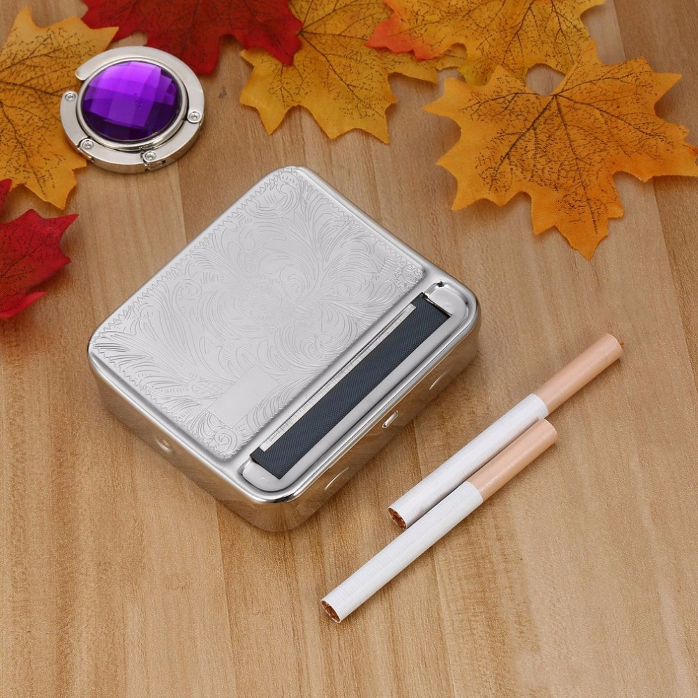 2018 NEW Creative Design 88*79*22mm Metal Automatic Cigarette <font><b>Tobacco</b></font> weed Smoking Smoke Roller Rolling Machine Box <font><b>Case</b></font> Tin image