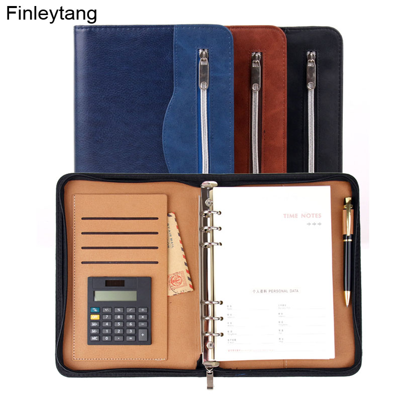 High Quality Business Notebook With Calculator Multifunction Manager Folder Padfolio PU Leather Zipper Notepad Travel Agenda A5 manager folders with 4000mah mobile power multifunction cument holder manager holders office supply work accessories