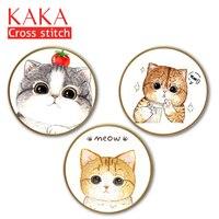 KAKA Cross stitch zestawy, 5D Trzy koty Zwierzęta, Haft robótki zestawy z nadrukowanym wzorem, 11CT płótnie, Home Decor Malarstwo