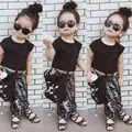2016 Summer INS Girls 2pc/Sets Baby Girl Clothes Black Tops + Elephant Printed Harem Pants outfit Girls Summer Sets E1073