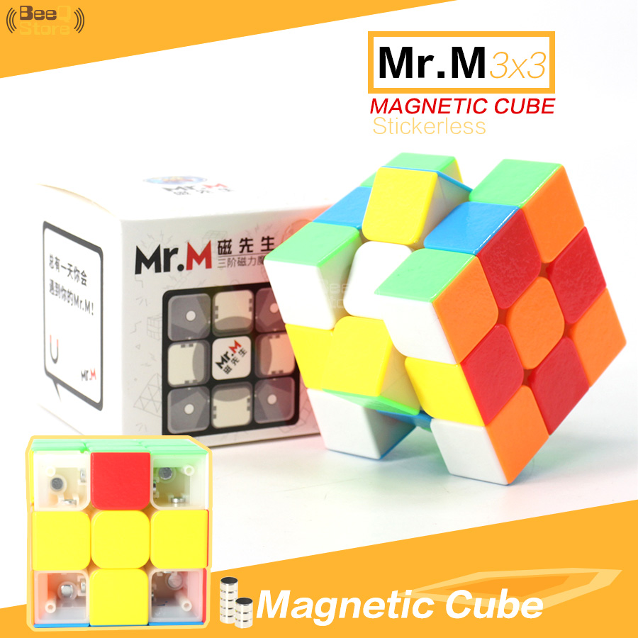 Shengshou Mr.M Magnetic Magic Cube 3x3x3 Stickerless 3x3 Speed Cube Puzzle Educational Toy For Professional Player Children Toys