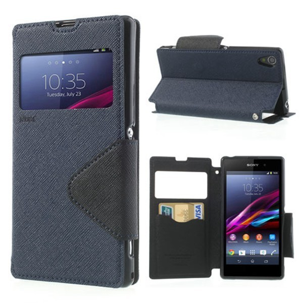 case Cover For Sony Xperia Z1 Compact Case Korea Diary Leather View Window Flip Stand Capa For Sony Z1 mini M51W phone case