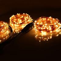 Venta 3*33 pies 100 luces navideñas LED al aire libre, cable de cobre blanco cálido, luces de cadena LED, luz estrellada + adaptador de corriente (enchufe UKUSEUAU)