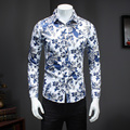 2016 New Autumn Men Shirts Casual Slim Fit Long Sleeve Shirt For Male designer Camisa Brand Dress Floral Shirt Big Size M~5XL