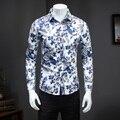 2016 Nuevo Otoño de Los Hombres Camisas Casual Slim Fit Camisa de Manga Larga para Hombre Vestido de diseñador de la Marca Camisa Floral Camisa de Gran Tamaño M ~ 5XL