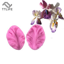 TTLIFE 3D 2pcs Iris Flower Silicone Mold Leaves Fondant Wedding Cake Decoration Tools Sugar Craft Pastry Chocolate Baking Moulds