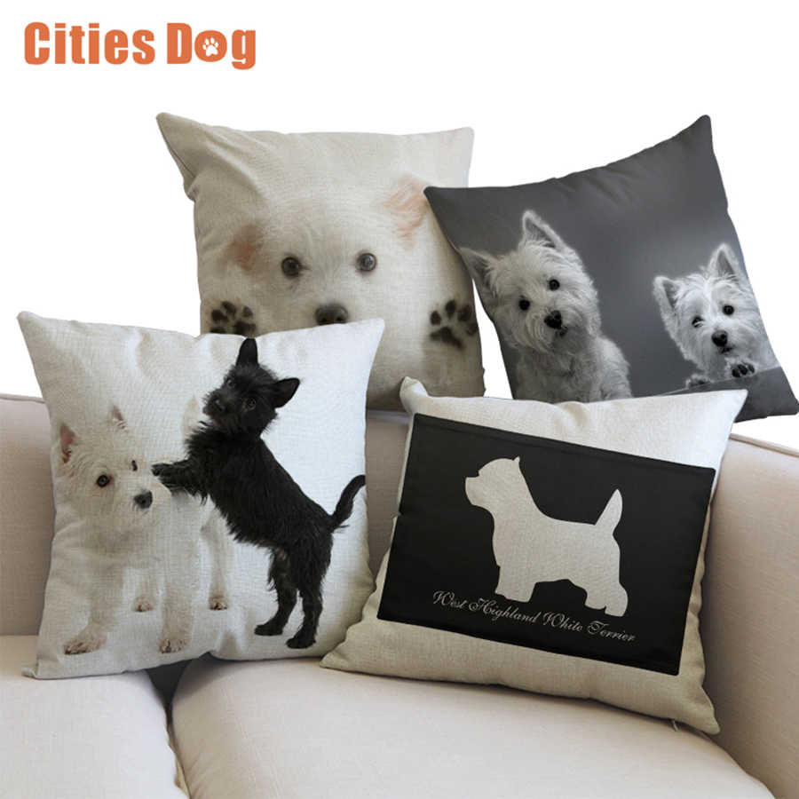 Animale cane biancheria Federa cuscino West Highland White Terrier Hepburn decorazione di cerimonia nuziale forniture divano auto federa