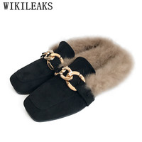 Designer Ladies Shoes Woman Slip On Loafers Women Flats Luxury Brand Fur Mules Zapatillas Mujer Casual