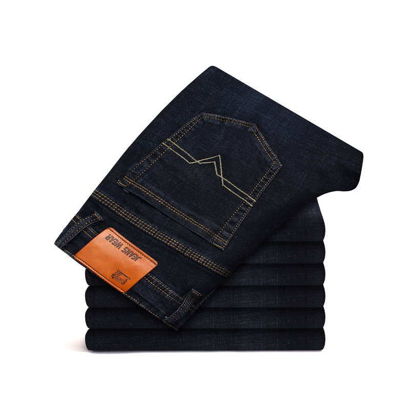 2019 CHOLYL  Men Jeans Business Casual Straight Slim Fit Blue Black Denim Pants Trousers Classic Direct Young Man Cotton Cowboys