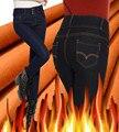 2016 inverno cintura alta além térmica quente calça jeans lápis