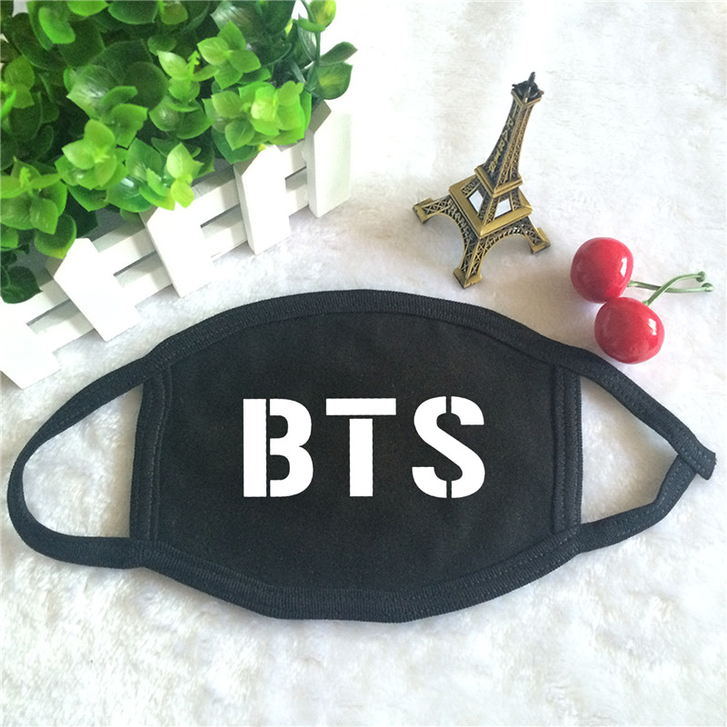 Kpop BTS Bangtan Boys JHOPE JIMIN JIN JUNGKOOK Rap Monster SUGA V Print K-pop Fashion Face Masks Unisex Cotton Black Mouth Mask