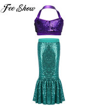Kids Girls Shiny Mermaid Halloween Cosplay Costume Girl Sequins Fancy Party Dress Up Long Green Tail Skirt Mermaid Crop Tops Set(China)