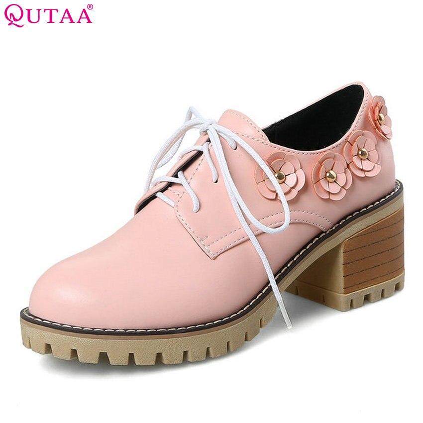 QUTAA 2018 Women Pumps Pu Leather Fashion Women Shoes Square High Heel Round Toe Platform Lace Up Black Ladies Pumps Size 34-43