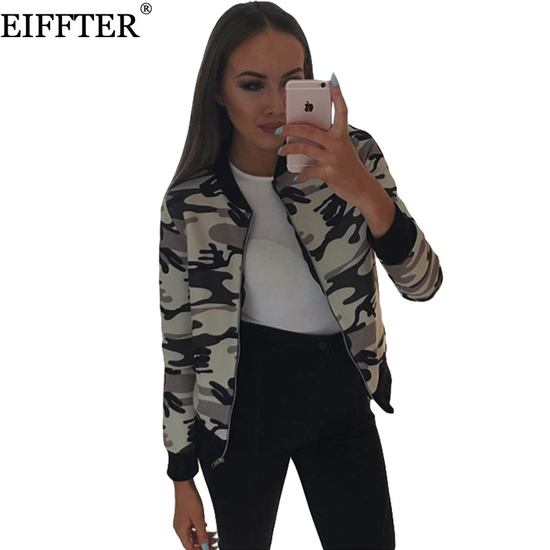 eiffter camouflage printed women jacket new spring autumn femme stand collar baseball jackets. Black Bedroom Furniture Sets. Home Design Ideas