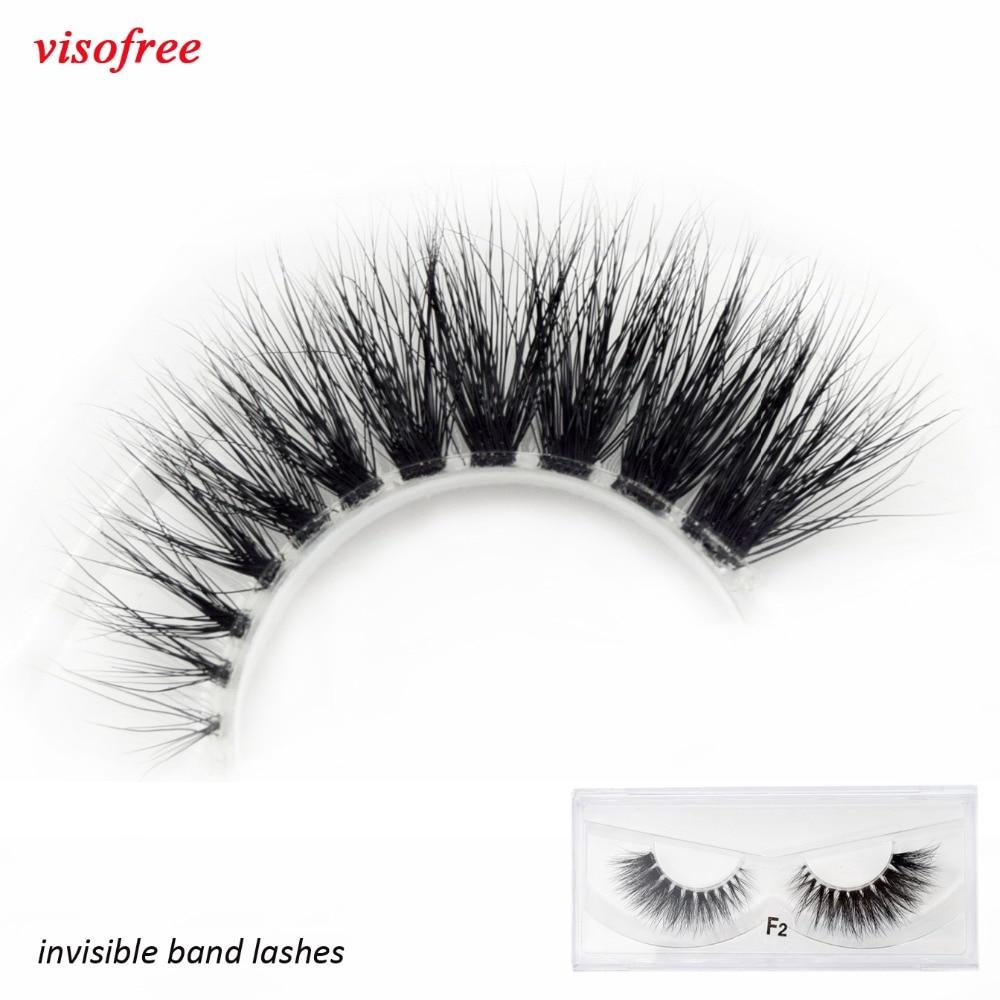 Visofree Mink Eyelashes Clear Band Eye Lashes Crisscross Transparent Band False Eyelashes Handmade Dramatic Lashes Upper Lash