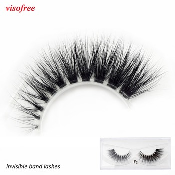 Visofree Mink Eyelashes Clear Band Eye Lashes Crisscross Transparent Band False Eyelashes Handmade Dramatic Lashes Upper Lash