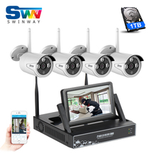 ANRAN Plug And Play 4CH Wireless NVR CCTV Kits+7'Inch LCD&720P HD Outdoor IR Wifi Security Camera System Home Video Surveillance