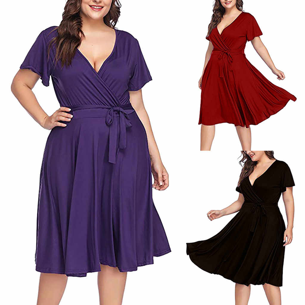 Plus Size Women Maternity Clothes Summer Casual Short Sleeve V Neck Bow Tie Solid Party Beach Dress vestidos