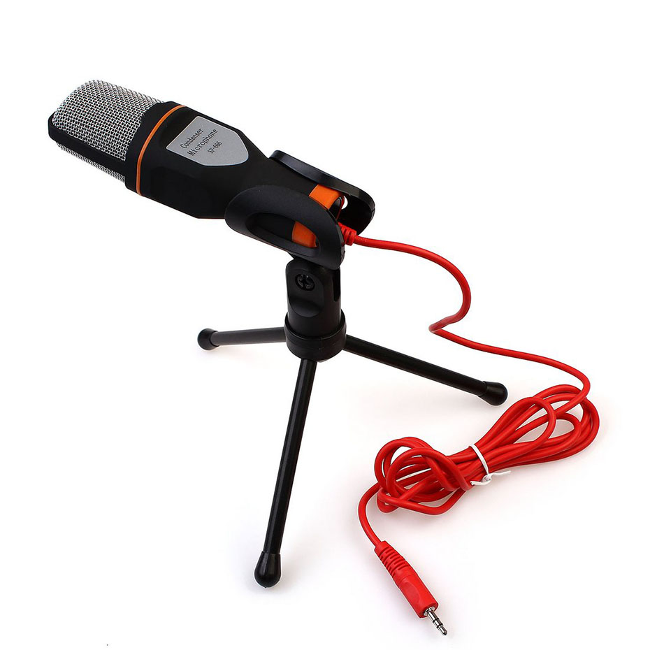 SF 666 Wired Microphone Mini Jack 3.5mm Handheld Studio Microphone Condenser Professional For PC Computer With Microphone Holder
